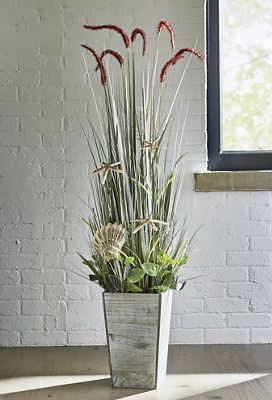 Foxtails in Wood Pot