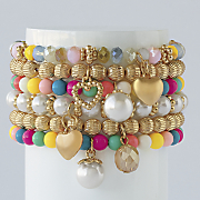 bead charm stretch bracelet set