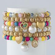 bead charm stretch bracelet set