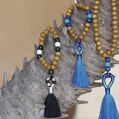 Wood-Bead Color-Fringe Bracelet