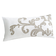 scroll crewel pillow