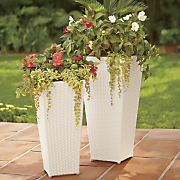 set of 2 white wicker planters