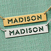 stencil name bar necklace