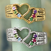 name birthstone 2 heart family ring