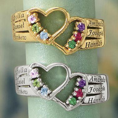 Name/Birthstone 2-Heart Family Ring