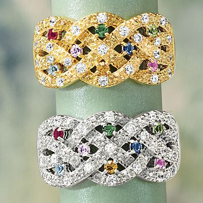 Birthstone Braided Family Ring