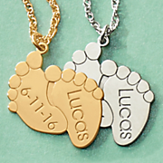 name date footprints pendant