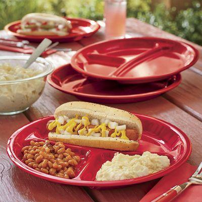 Set of 4 Melamine Sectioned Dinner Plates