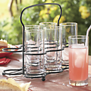set of 6 glasses with caddy