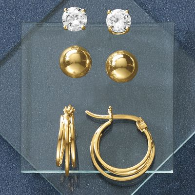 3-Pair Hoop, Ball and Cubic Zirconia Earring Set