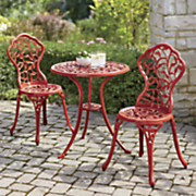 colorful aluminum bistro table and chairs
