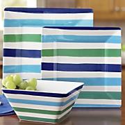 12 pc  striped meamine dinnerware set