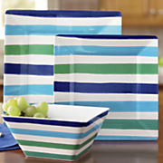 12 pc  striped meamine dinnerware set