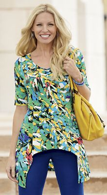 Abstract Floral-Print Top