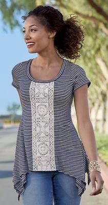 Lace-Front Stripe Top