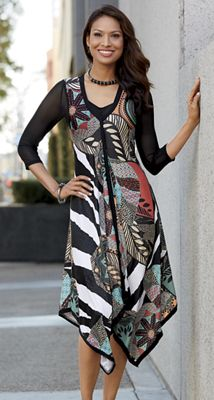 Abstract Tropical Dress