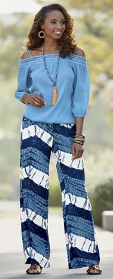 Sheila Cold-Shoulder Top and Wide-Leg Pant