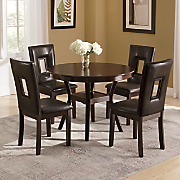 Manchester Round Dining Table and Set of 2 Rectangle Cutout Dining Chairs