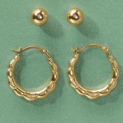 2-Pair 10K Gold Hoop/Post Earring Set
