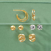 4 pair mixed post earring set