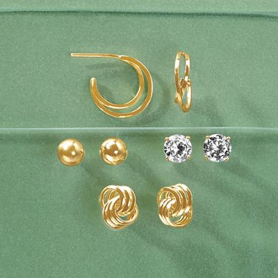 4-Pair Mixed Post Earring Set