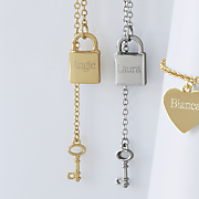 name lock key pendant