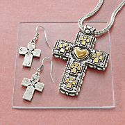 cross pendant earring set