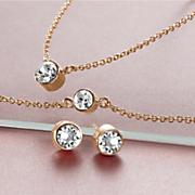 crystal necklace bracelet earring set