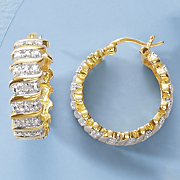 diamond wide hoop earrings