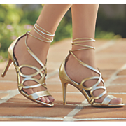 tie wrap heeled sandal by midnight velvet