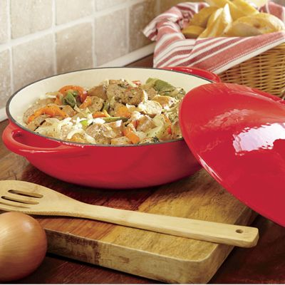 3.5-Qt. Cast Iron Low Casserole Dish with Lid