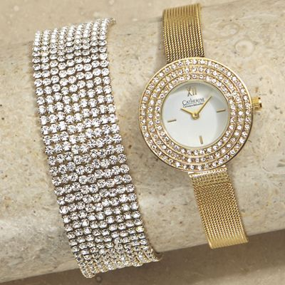 Mesh Band Watch/Multi-Strand Bracelet Set by Jessica Carlyle
