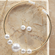 faux pearl collar necklace earring set