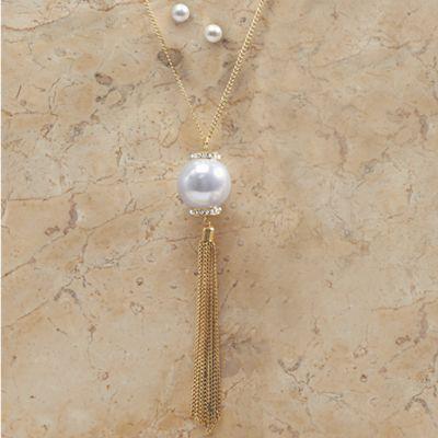 Faux Pearl Long Tassel Necklace/Earring Set