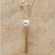 faux pearl long tassel necklace earring set