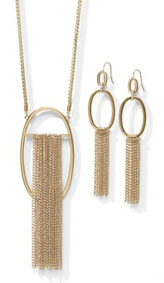 Oval/Chain Fringe Necklace/Earring Set
