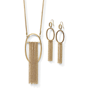 oval chain fringe necklace earring set