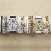 crystal rubber strap watch bracelet set