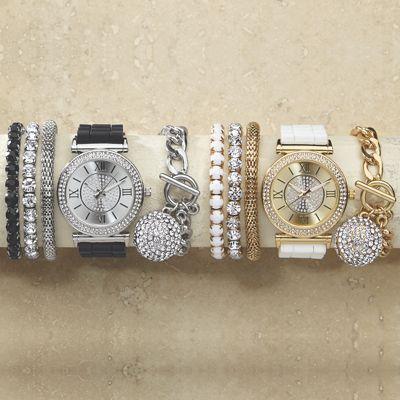 Crystal/Rubber Strap Watch/Bracelet Set