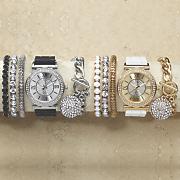 crystal rubber strap watch bracelet set
