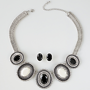 oval necklace earring set
