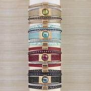 crystal pleather multi strand bracelet