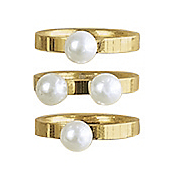 faux pearl 3 pc  stack ring