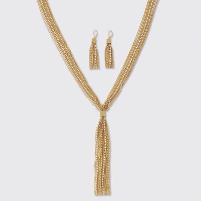 Crystal Tassel Necklace/Earring Set