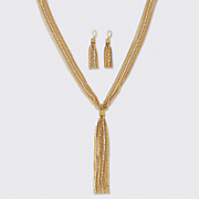 Crystal Tassel Necklace Earring Set WD