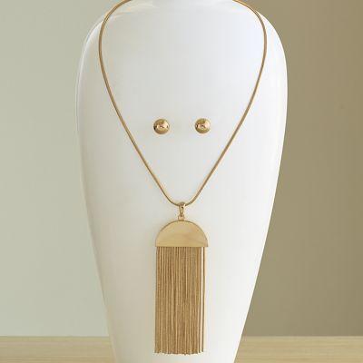 Chain-Drop/Long Necklace/Earring Set