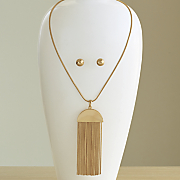 chain drop long necklace earring set