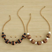 wood ball necklace earring set