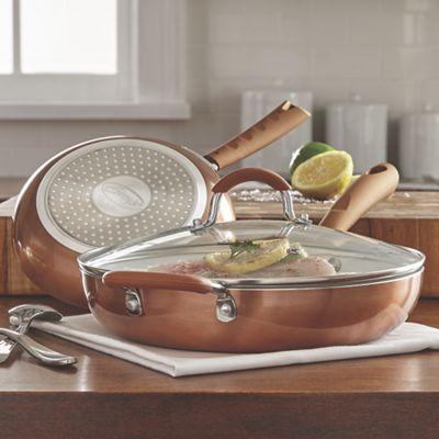 Ginny&#39;s Brand<sup class='mark'>&reg;</sup> 3-Piece Ceramic Saute Fry Pan Set