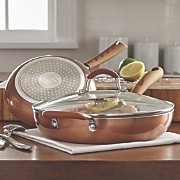Ginny's Brand® 3-Piece Ceramic Copper Saute Fry Pan Set